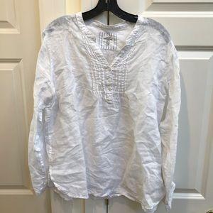 Gap White Linen Popover Shirt